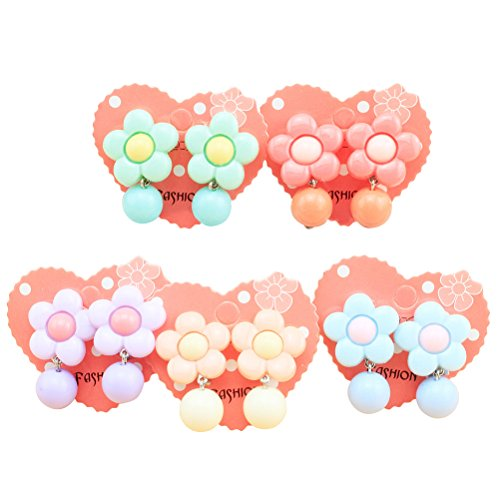 LUOEM Kleine Mädchen Ohrringe Ohrclips Ohrstecker Kinder Ohrringe Ornamente Kinder Schmuck Geschenk 5 Paar (Farbe Sortiert)