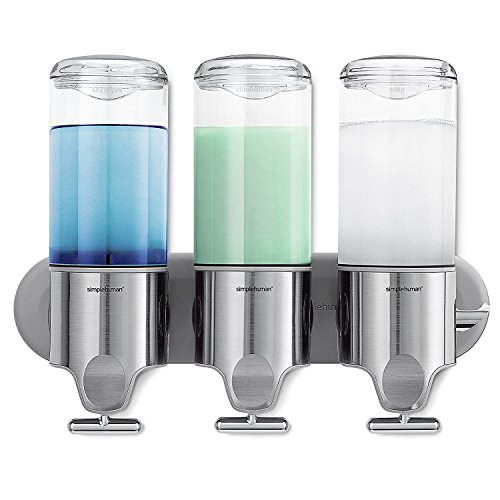 simplehuman BT1029-Dispensador de Pared Triple en Acero Inoxidable, Metal, Plateado, 12 w x 3 7/10