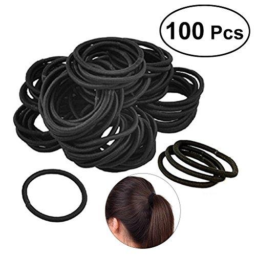 Frcolor Elastik Haar Krawatten Bands Seil Keine Falte Kein Metall für alle Haartypen Durable Strong (100pcs schwarz) Band, 2.6