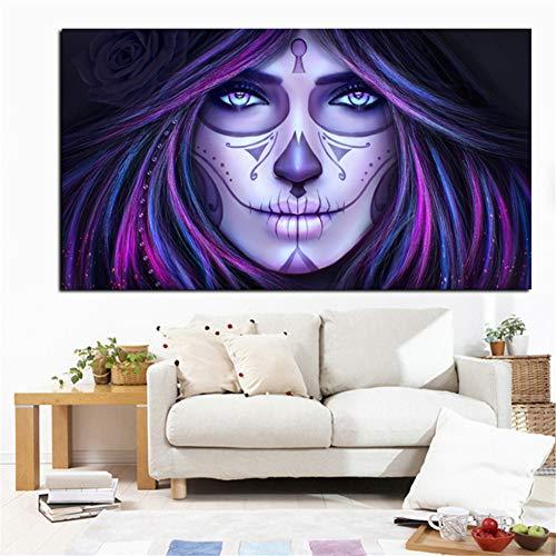 Rjjwai Hd Gedruckt Tag Der Toten Gesicht Schädel Tattoo Kunst Ölgemälde Druck Auf Leinwand Moderne Wandkunst Bild Für Kinderzimmer Cuadros Decor Hauptdekoration 50x75cm (Toten Der Tattoo Tag Mädchen)