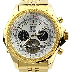 Orkina Gold Color Case White Chronograph Skeleton Dial Stainless Steel Wrist Watch KC082SGW