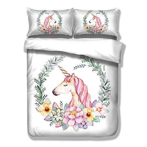 3D Unicorn Cartoon Tiere Einhorn Bettwäsche Set Einzelgröße Weiß Bettwäsche Kissenbezug Bettbezug Set mit Reißverschluss, für Kinder Erwachsene (150x200cm) (Blatt Blau Jersey Kinderbett)