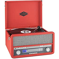 auna Belle Epoque 1907 tocadiscos minicadena retro con Bluetooth (USB, radio FM/AM, reproductor MP3, CD, casete y vinilo, AUX) - rojo