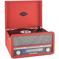 auna Epoque 1907 Impianto stereo multifunzione dallo stile vintage, con giradischi e altoparlanti integrati (lettore LP, lettore CD, MP3, 2 Casse audio, bluetooth, mangianastri, telecomando) - rosso