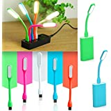 Zayto Set Of 5 Piece Mini USB LED Light Adjust Angle / Bendable Portable Flexible Led Lamp With Usb For Power Bank PC Laptop Notebook Computer Keyboard Outdoor Energy Saving Gift Night Book Reading Lamp.(Colors May Vary)
