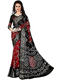 (MACUBE SAREE)Bhagalpuri New Latest Black & Red Color Bandhni Saree With Blouse Piece(MS764Red&Black)