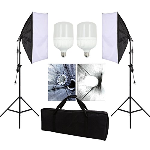 Grandekor Softbox Dauerlicht Fotostudio Set LED Studioleuchte 50x70 Soft Box Lighting Kit mit 28W Fotolampe Stativ Tragetasche