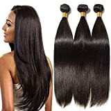 Extension Tessitura Capelli Veri Matassa 3 Bundles 65cm/70cm/75cm Virgin Human Hair Lisci Umani Extensions Nere Naturali Brasiliani 300g/Pack Full Head 100% Remy #1B Nero Naturale