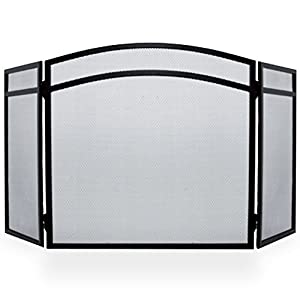 Simpa Hampton 3 Panel Fire Place Guard Fire Screen Spark Flame Guard Arched 3 Panel Folding Design, Black