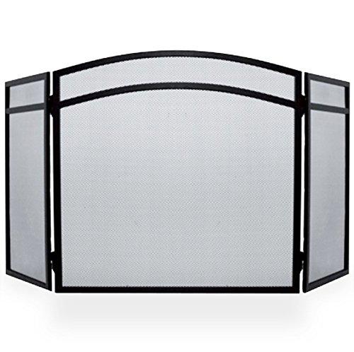 Simpa® Protector de chimenea Fire Protector de pantalla Spark llama arco 3Panel plegable diseño, negro