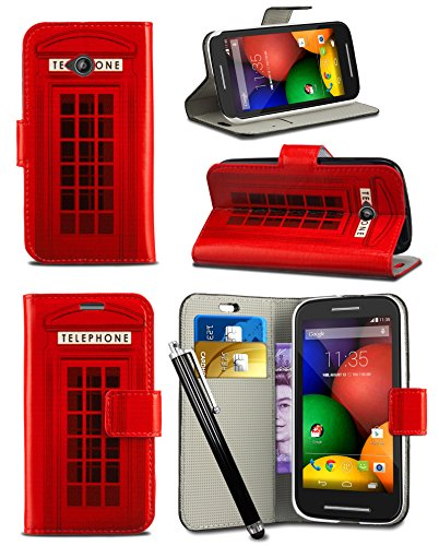 "Price comparison product image Huawei P20 Lite (2018) 5.84"" Screen - MobiBax Prime New Fresh Printed Wallet Case Cover Creative Fresh Pattern Design with Integrated Stand & Large STYLUS Pen - Red Telephone Booth Box"