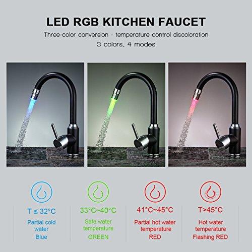 Auralum 360°-Drehung Schwarz LED Küchenarmatur Mischbatterie Kupfer Armatur für Kalt-warmwasser Küche Spültischarmatur Einhandhebelmischer Chrom -
