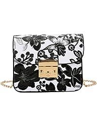 Zibuyu Women PU Leather Flower Printed Chain Bag Shoulder Crossbody Bag(Black)