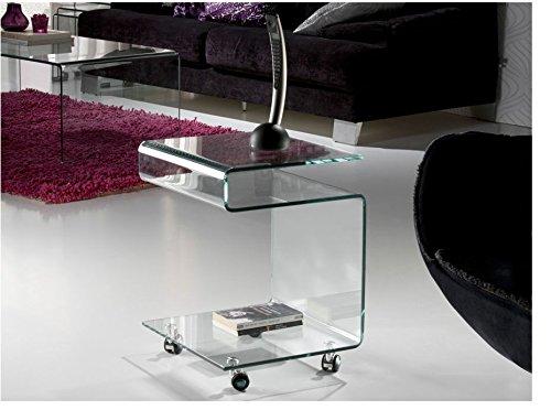 Hogar Decora Beistelltisch mit Rollen Glas 10mm, Transparent.