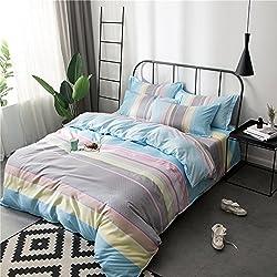 Zhiyuan funda nórdica funda de almohada y sábana con rayas de colores, Cama de 150cm