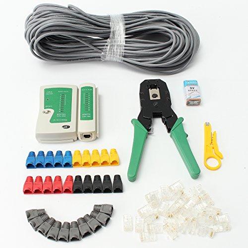 Netzwerk Werkzeug-Crimper Kit, faway RJ45Cat5e Cat6Netzwerk Ethernet-LAN Kit Kabeltester Crimpzange Set (Ideal Ethernet-crimper)