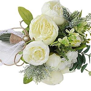GuanjunLI – 1 ramo de novia artificial, ramo de broche de novia hecho a mano, estilo rústico vintage, rosas de satén…