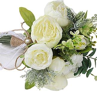 GuanjunLI – 1 ramo de novia artificial, ramo de broche de novia hecho a mano, estilo rústico vintage, rosas de satén, flores de boda blanco