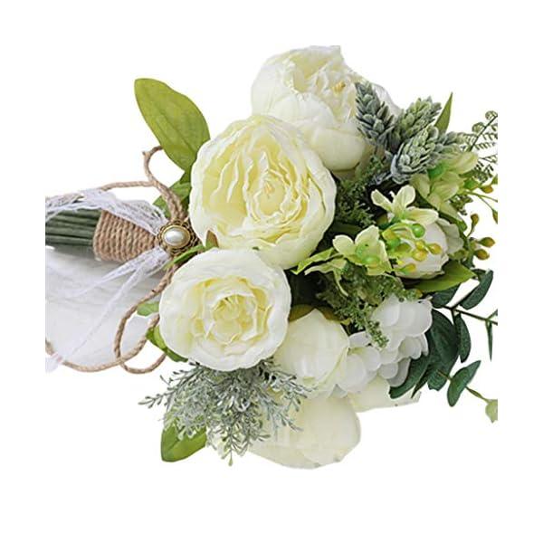 GuanjunLI – 1 ramo de novia artificial, ramo de broche de novia hecho a mano, estilo rústico vintage, rosas de satén, flores de boda rosa