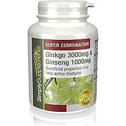 Ginkgo Biloba y Ginseng Coreano - 360 comprimidos - Hasta 6 meses de suministro - Favorece la circulación y la memoria a corto plazo - Aumenta los niveles de energía - SimplySupplements