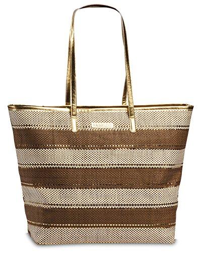 Korbtasche Bast Tasche Einkaufstasche Shopper Strandtasche große Damen Umhängetasche braun-beige gestreift Lurex Gold