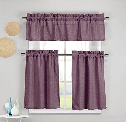 3Stück Faux Baumwolle Küche Fenster Vorhang Panel Set mit 1Querbehang und 2Etagen Panel Vorhänge, Polyester-Mischgewebe, purple, plum, 1 Valance 60