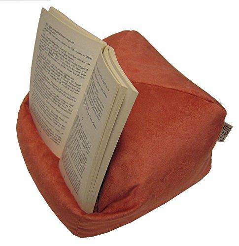 Preisvergleich Produktbild LESEfit soft antirutsch Lesekissen, Tablet Kissen Halter, echter Sitzsack für iPad * Bücher & eBook-Reader, für Bett & Couch / terracotta