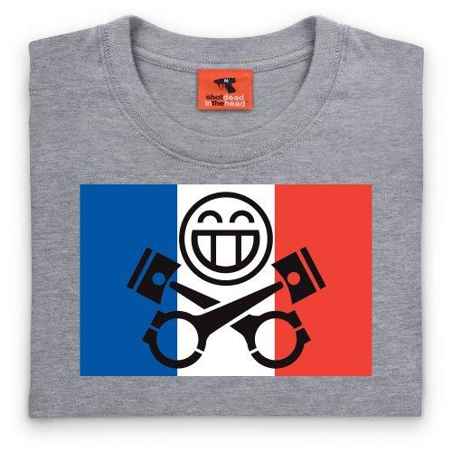 PistonHeads France T-Shirt, Damen Grau Meliert