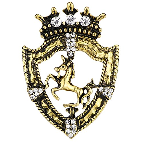 Homyl Königin Krone Stil Kristallbrosche Pferderennen Abzeichen mit Kette Pin Accessory Party Ornamente Mode Schmuck Geschenk - Antikes Messing (Krone Pferd Messing Aus)