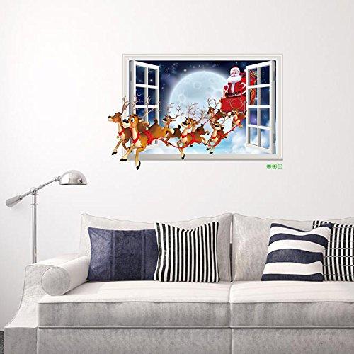 Wandaufkleber 3d Dreidimensionalen Weihnachtsmann Gefälschte Fenster Aufkleber Urlaub Kinder Haus Hirsch Auto Verziert Pvc50 X 70cm 50 x 70CM pro -