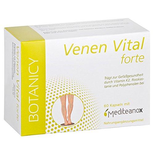 VENEN VITAL forte - Natürliche Hilfe bei Venenleiden - Mit dem Markenrohstoff Mediteanox® aus Olivenfruchtextrakt + Rosskastanie, Ginkgo Biloba, Resveratrol u.a. 60 Venen Kapseln (Monatspackung) -