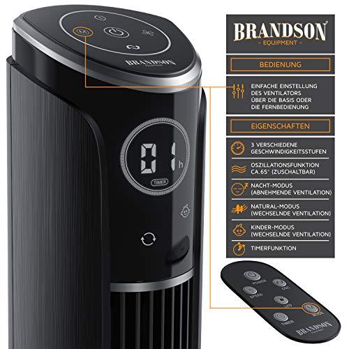 Brandson – Turmventilator mit Fernbedienung 108 cm | Ventilator 10° neigbar | Standventilator mit Oszilation | 65° oszillierend | 3 Geschwindigkeiten 4 Lüftungs-Modi Timer | GS | Nachtschwarz Bild 2*