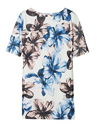 sourcingmap Femme Col Rond Imprimés Floraux Extensible Coude Manches Robe Tunique Blanc