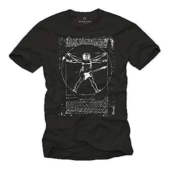 Musik T-Shirts mit Gitarre LEONARDO DA VINCI schwarz Männer S