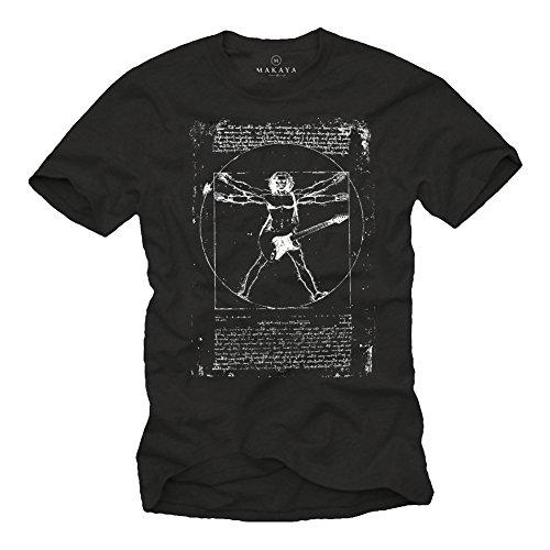 Musik T-Shirts mit Gitarre LEONARDO DA VINCI schwarz Männer XL