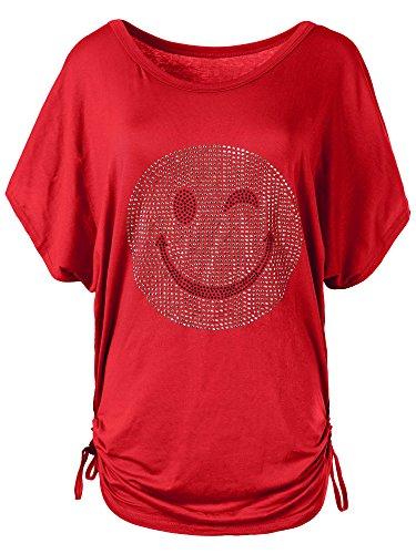 N115 Damen Batwing Shirt T-Shirt Longshirt Smiley Kurzarm Tunika Bluse Smily, Farben:Rot, Größen:Einheitsgröße