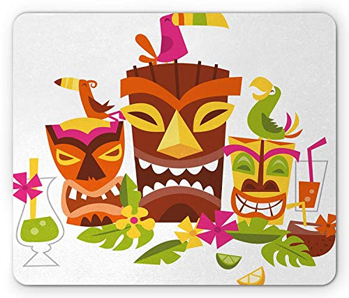 WYICPLO Luau Mouse Pad, Three Grimacing Tiki Party Masks Surrounded by Leaves Drinks and Cute Toucan Birds, Standard Size Rectangle Non-Slip Rubber Mousepad, Multicolor