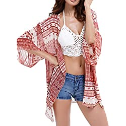DELEY Mujeres De La Gasa De La Impresión Floral De Ropa De Playa Kimono Bikini Cubrir Boho Cardigan Tops Blusa Chal Rosa