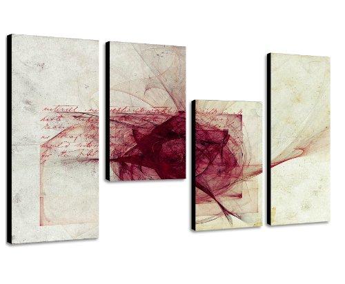 Tolles Wandbild weiß und bordeaux - Wandbild 130x70cm 4 teiliges Keilrahmenbild (30x70+30x50+30x50+30x70cm) abstraktes Wandbild mehrteilig Kunstdruck im Gemälde-Stil - optisch wie handgemalt - glatte Oberfläche - Vintage