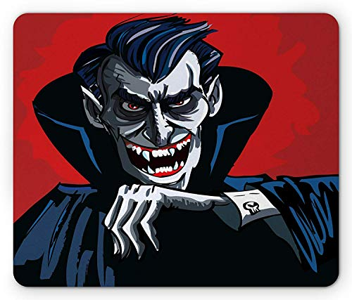 Vampire Mouse Pad, Cartoon Cruel Old Man with Cape Sharp Teeth Evil Creepy Smile Halloween Theme, Standard Size Rectangle Non-Slip Rubber Mousepad, Blue Red Grey