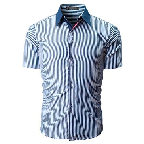 3d4aacfe52d9b6 VEMOW Sommer Vatertag Geschenk Männer Shirt Fashion Business Arbeit  Täglichen Streifen Farbe Männlichen Casual Kurzarm Shirt Pullover Tees(Marine