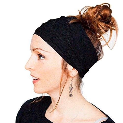 HugeStore Damen Yoga Sport Elastisch Stirnbänder Stirnband Kopfband Haarband Turban Haarschmuck Schwarz