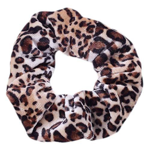 bulingLU Mädchen Jahrgang böhmischen Leoparden Zebra Streifen Samt Plüsch Dickdarm Haargummis