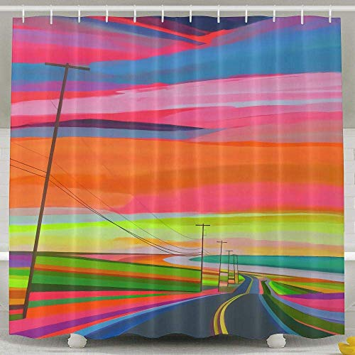 Sangeigt Duschvorhang Bath Curtain, Abstract Highway Oil Painting Art Home Shower Curtains Waterproof Polyester Fabric Decorative Bathroom Shower ()