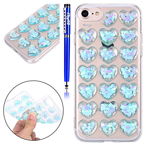Custodia Cover iPhone 7/iPhone 8 (4.7), EUWLY Cover Case per iPhone 7/iPhone 8 (4.7), Fashion TPU Trasparente Morbido Protezione Silicone Custodia Bling Glitter Brillantini Cristallo Chiaro TPU Cope Cristallo Blu