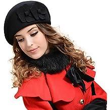 dbe4d992dd009 Malloom Las Mujeres sentían Boina Francesa Gorro Fieltro Pillbox Hat Moda  Lana Caliente