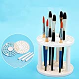 Make Up 49 Holes Brush Organizer Table Holder Multi Hole Paint Brush Desktop Storage Stand Saving Space BY UPXIANG (White)