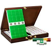 Mahjong Cristal acrílico Gran Tamaño Mahjong casa Tarjeta 39mm ~ 40mm Mano Mahjong en Caja de Madera Mah Jong (Tamaño : 9#)