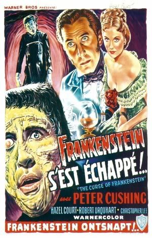THE CURSE OF FRANKENSTEIN - PETER CUSHING - BELGIAN MOVIE FILM WALL POSTER - 30CM X 43CM CHRISTOPHER LEE -