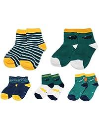 Colourful Baby World Calcetines tobilleros a rayas de cocodrilo verde azul marino amarillo para bebé niño